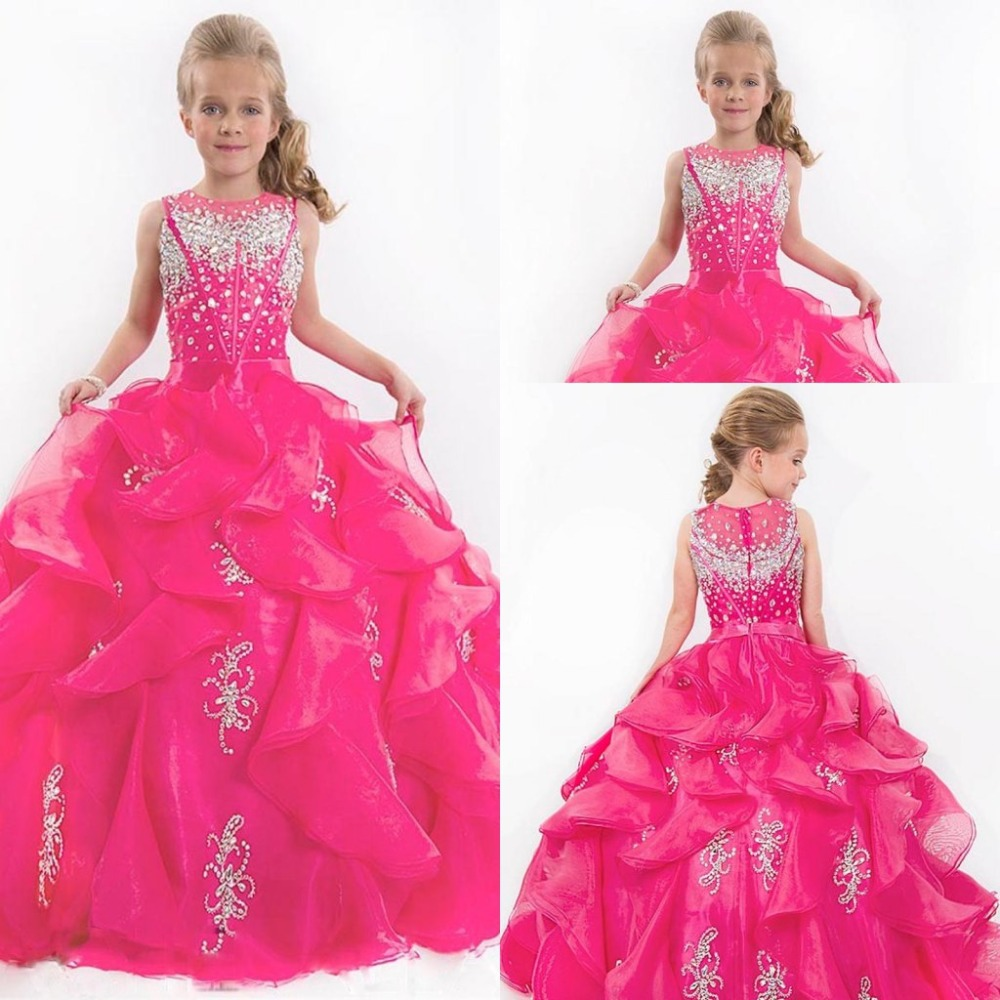 New Sparkling Beaded Tulle Pink Girls Floor Length Dress Pageant Wedding