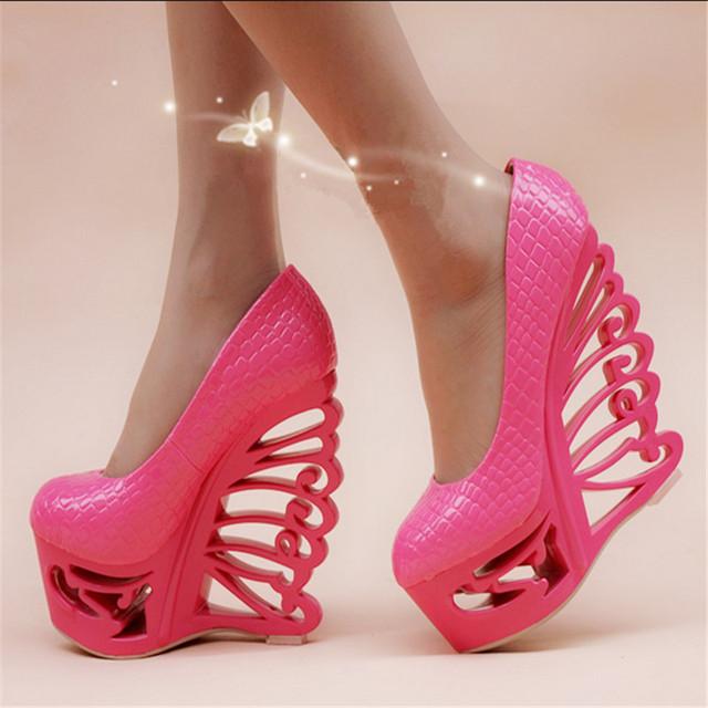 mulheres sapatos nova boate sexy 16 centímetros calcanhar oca com forma única com sapatos europeus e americanos estilo lady bombas dos saltos altos