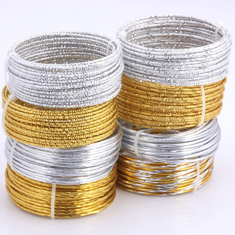 Olingart 5M/lot 2.0mm Aluminum Wire Pattern Gold/silver Soft Craft Versatile Bendable Metal DIY Jewelry Handicraft Making
