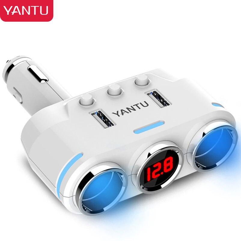 YANTU Mini Wireless Car Charger Dual Usb Mouth Splitter Cigarette Lighter Socket 2 in1 For 12v Phone Boat Balls