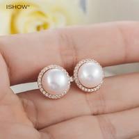 I SHOW Natural Pearl Jewelry Crystal Earrings Freshwater Pearl Earrings Women 925 Sterling Silver Jewelry Stud