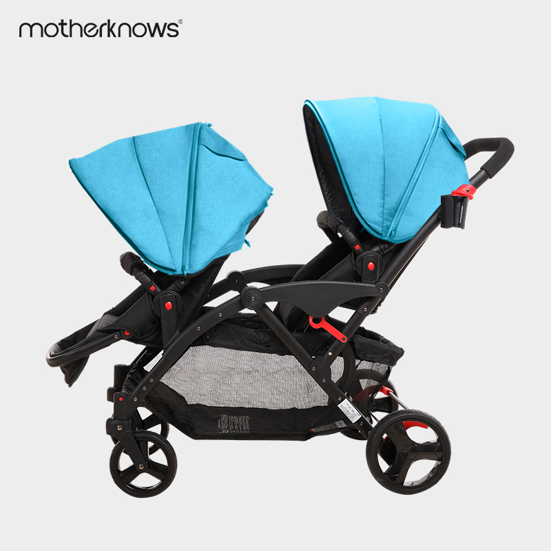 High landscape twin strollers can sit and lie high landscape lightweight folding twins double car
