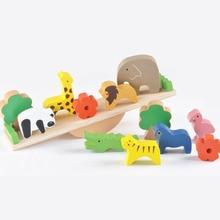 Wooden Montessori Toy Animal Moon Balancing Stacking Game Blocks Birds Set Best Kids Learning Educational Toys Gift for Children недорого