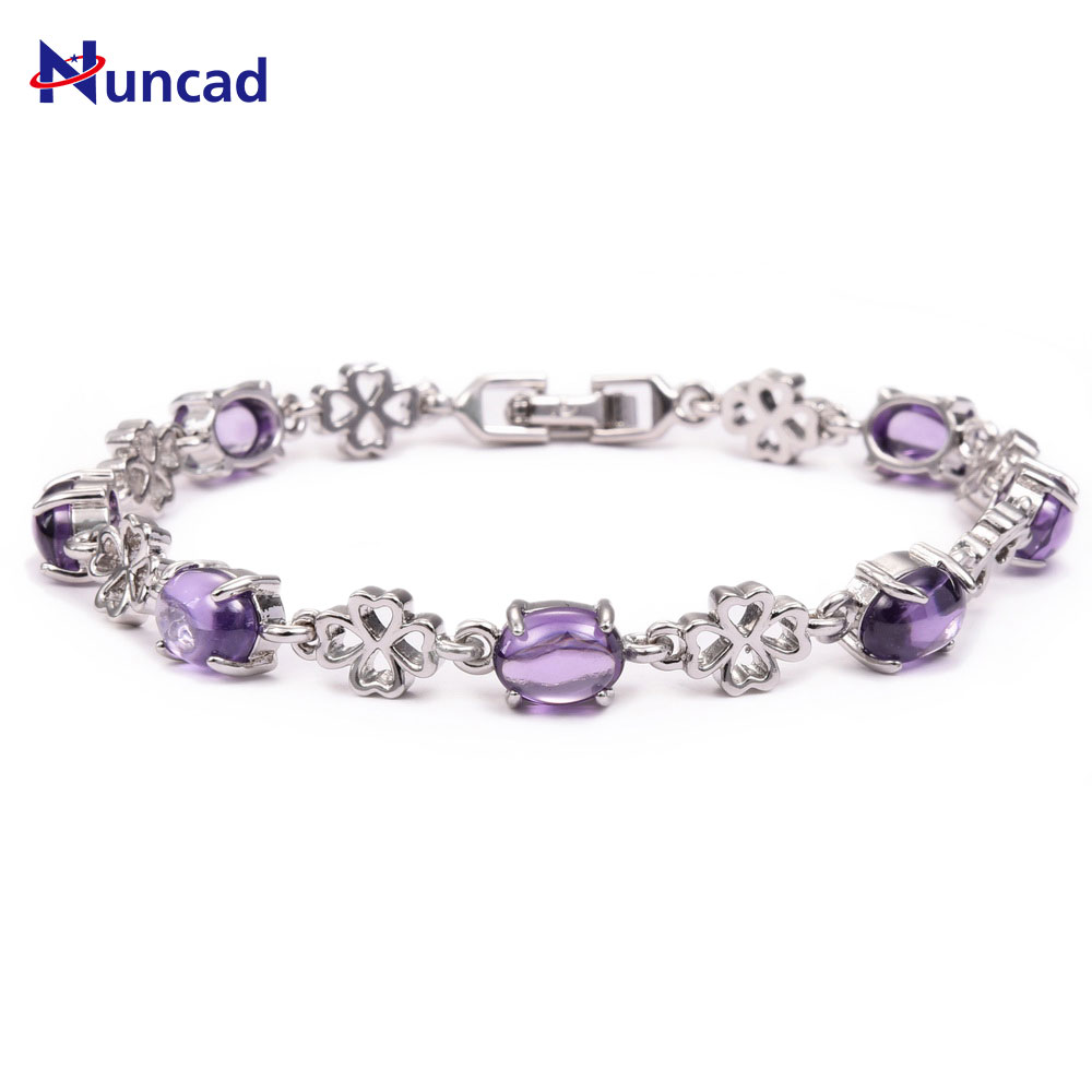 2017 New Pave Zircon Lucky Clover Flower Connector Charm Chains Women Purple Crystal Bracelets Fashion Jewelry Gifts