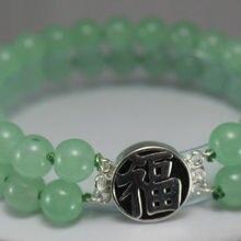2 ряда зеленый натуральный камень браслет-четки