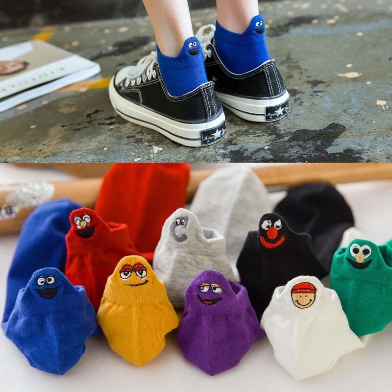 Summer Korean Kawaii   Socks   Female Tide Funny   Socks   Shallow Mouth   Socks   Cartoon Heel Embroidery Candy Colors Breathable   Socks