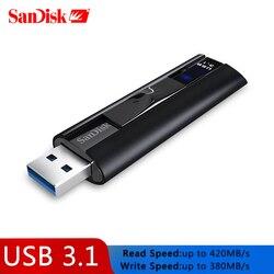 SanDisk SSD USB 3,1 Usb Flash Drive 128GB Extreme PRO Pen drive 256gb memoria Flash CZ880 llave USB U disco 420 MB/s para PC
