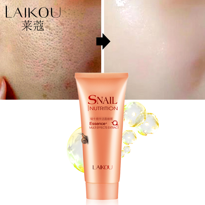 LAIKOU Schnecke Gesichts Reiniger Organische Natürliche Gel Täglich Gesicht Waschen Anti Aging Mild Peeling Gel Tiefe Poren Reinigung Hautpflege