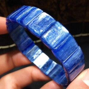 Genuine Natural Blue Kyanite Gemstone Crstal Rectangle Beads Stretch Bangle Bracelets Cat Eye Effect Gemstone Woman Man AAAAAA