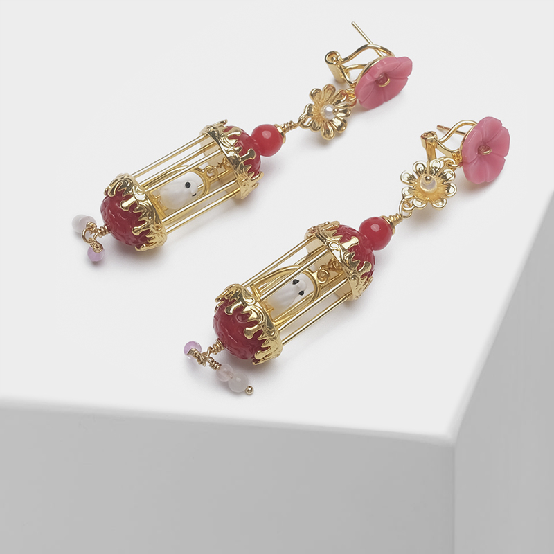 Floral and birdcage design stylish drop earringsFloral and birdcage design stylish drop earrings