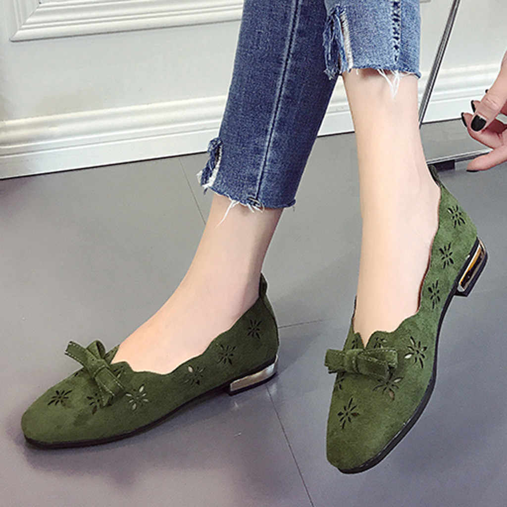 e5bb49d5ff8 Fashion Women s Single Shoes Leisure Solid Butterfly Knot Square Toe Low  Heel Loafers Doug Single Shoes