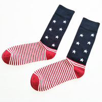 New American Stars Stripes Middle Tube Sock Brand Men Sock Barrel Sweat Absorbent Breathable Pure Cotton