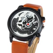 купить 2019 Hot Fashion Ghost Head Quartz watch Retro Skull Charm Casual Women Wrist Watch Men Leather Clock gift relogio masculino по цене 155.18 рублей