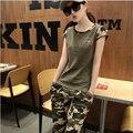 M-4XL Plus Size 2016 Coreano Camuflagem Terno Agasalho Verão Sportswear Moda 2 Peça Set Mulheres Tops + Calças Roupas