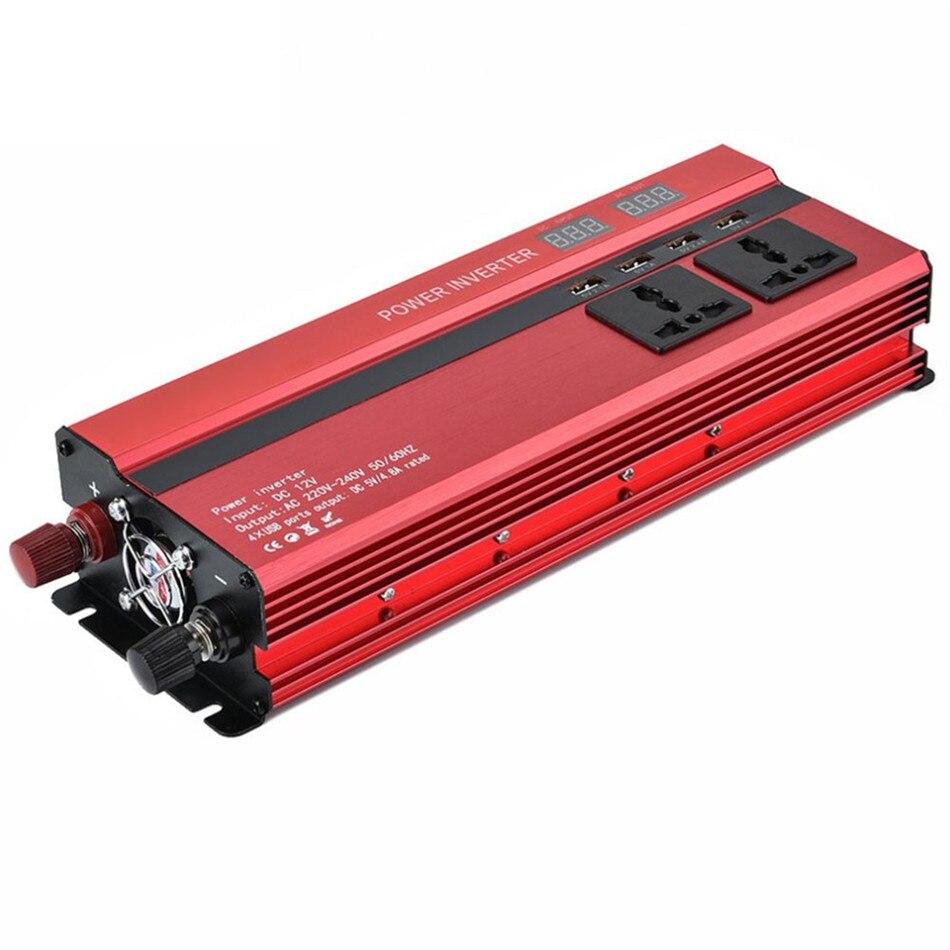 Автомобильный инвертор 1200 Вт, непрерывный 600 Вт, портативный автомобильный инвертор, зарядное устройство, адаптер преобразователя постоянного тока 12 В в переменный ток 220 В, Модифицированная синусоида