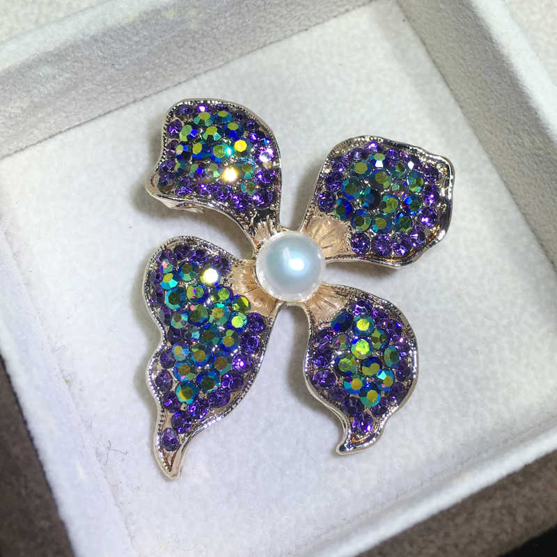 ZHBORUINI High Quality Natural Freshwater Pearl Brooch Pearl Flower Brooch Purple Color Pearl Jewelry For Women Gift Accessories