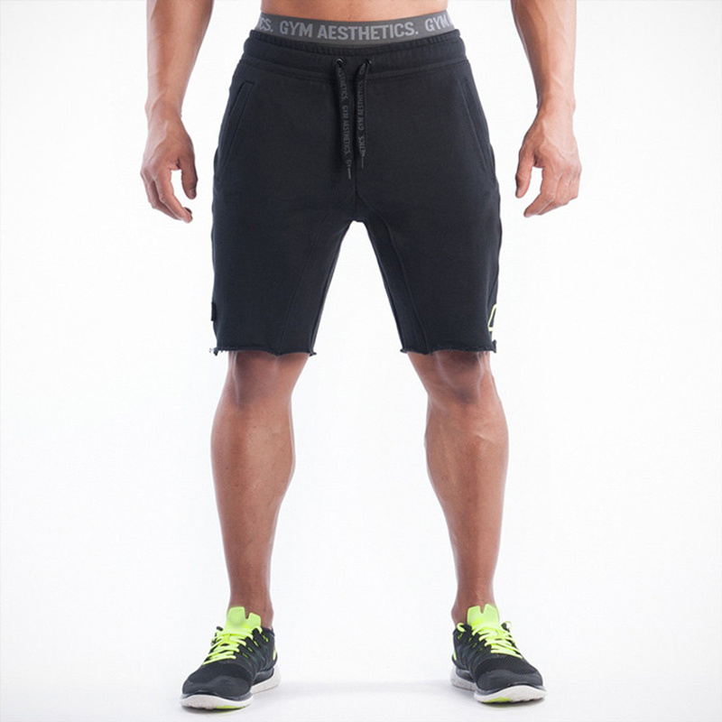 Men Gyms Fitness Cotton Shorts Casual Vintage Knee Length Short Pants Male Jogger Bodybuilding Workout Crossfit Brand Sweatpants