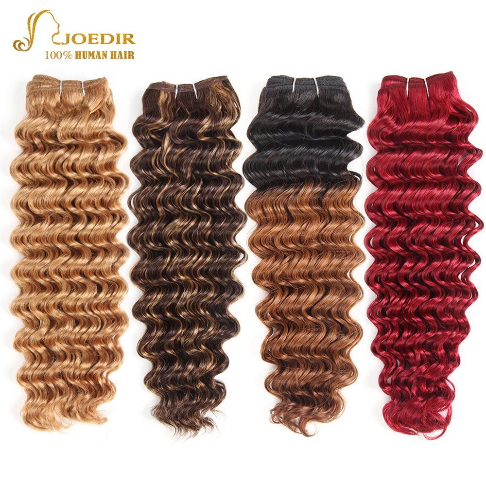 Joedir Pre-Colored Brazilian Deep Wave Hair 100% Human Hair Bundles Remy Hair Weave Blonde Color 27 P4/27 Free Shipping