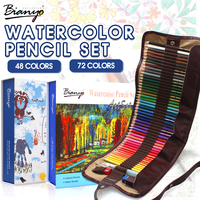 Bianyo 48 72 Colors Water Soluble Pencils Gift Package Children Colored Sketch Watercolor Pen Set For