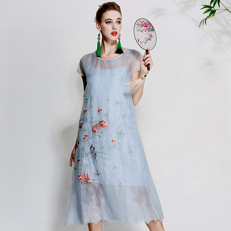 Women beautiful dresses summer vintage royal embroidery floral elegant lady blue organza silk A-line party dress L-XXL