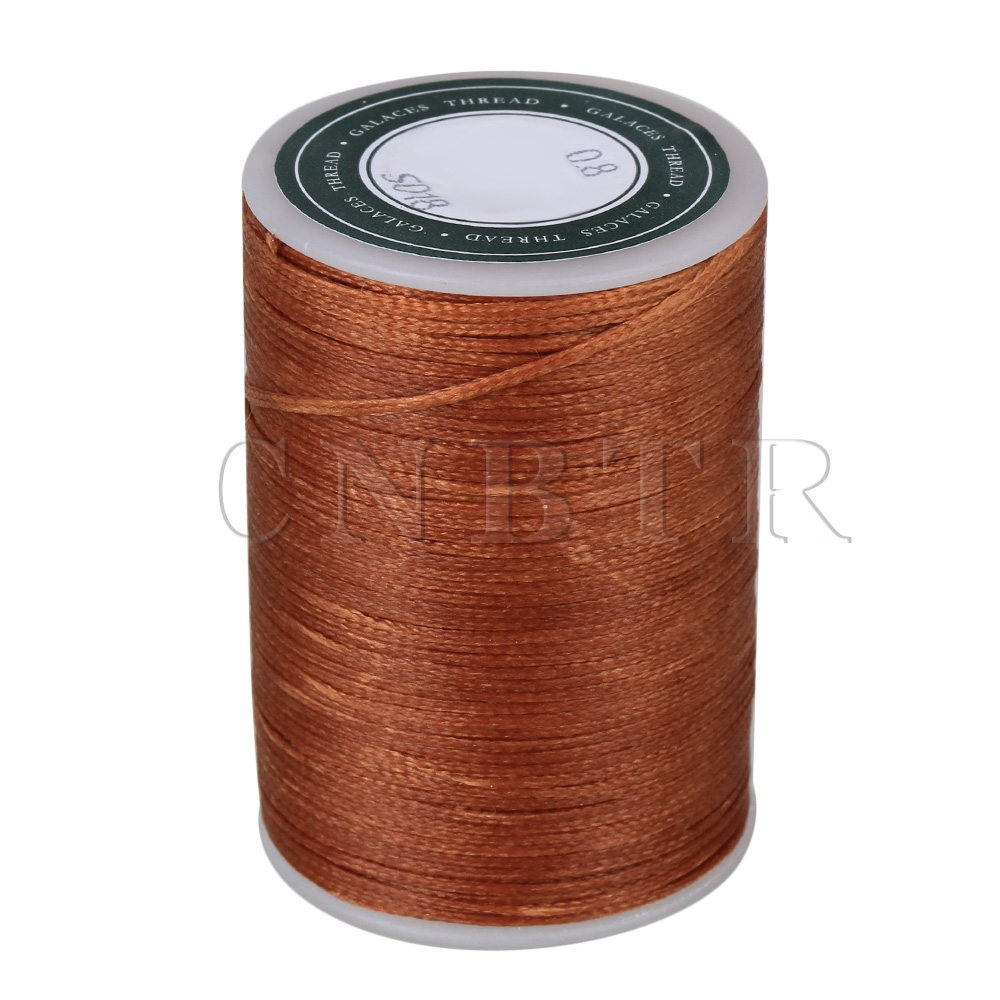 CNBTR Brown Flat 3-Ply Waxed Polyester Cord Leather Work Thread Cord 78 0.8MM DIY brushed cotton twill ivy hat flat cap by decky brown