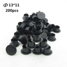 200Pcs 13mm Black Tattoo Self-Standing Wide Base Ink Cups Cap Supply — SSC#13-200