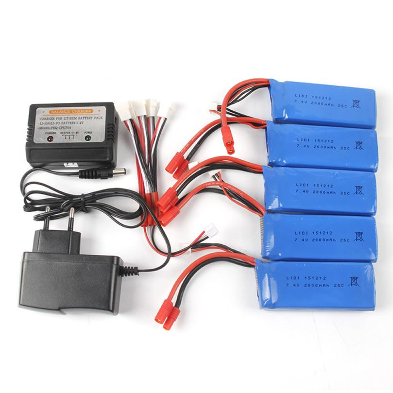 Accessories Battery For RC Helicopter 7.4V 2000mAh Li-Polymer Battery + Balance Charge For X8C/X8W/X8G/X8HC/X8HW/X8HG RC toysJY4