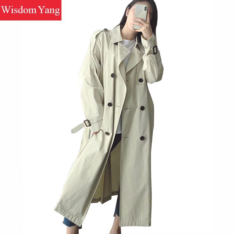 Coats Womens Trench Beige Elegant Office Ladies Female Long Sleeve Belt Trench Coat Overcoat Slim Windbreaker Casual Outerwear