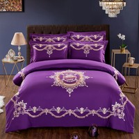 Wedding Luxury Satin Jacquard Bedding sets Embroidery Bedding Sets Dragon Chinese Duvet Cover Bed Sheet Pillowcases violet