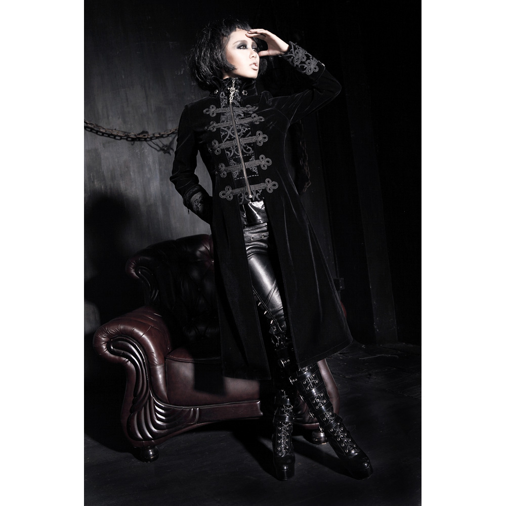 Fashion Gothic Punk Womens Streampunk Jacket Coat Hoodie Black Military Cosplay outfit Y401