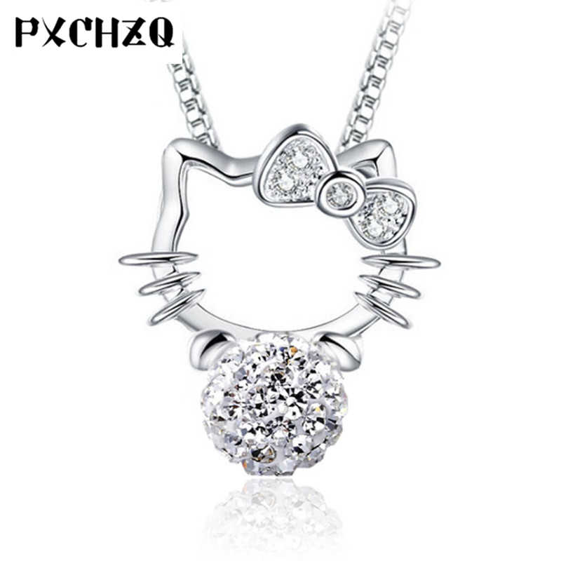 da4fe4399 Detail Feedback Questions about Women jewelry Shambhala full crystal ball  Pendant Hello Kitty silver color necklace pendant simple fashion 8MM on ...
