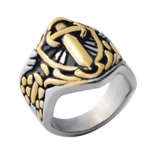 Men s 18K Gold antique muslim Sword of Imam Ali ring Stainless steel font b Islam