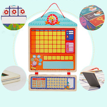 Wooden Magnetic Reward Activity Responsibility Chart Calendar Kids Schedule Educational Toys for Children Time