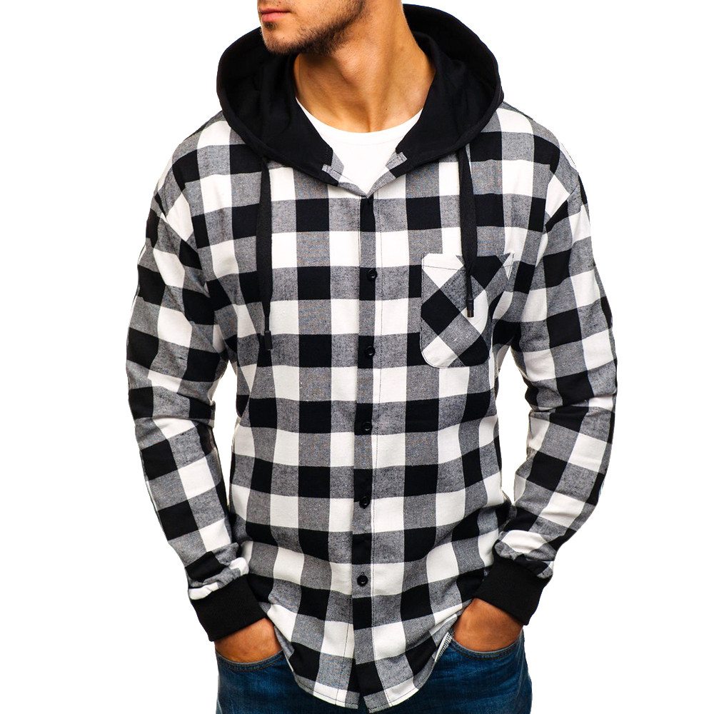 Feitong Men Autumn Winter Plaid Sweatshirts Causal Long Sleeve Pullover Tops  Hooded  Sweatshirt Hoodies Pullover 2019 Fashion