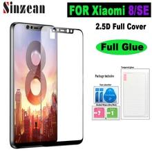 Sinzean 25pcs For Xiaomi Mi8 SE Full Cover Tempered Glass For Xiaomi 8 2.5D Flat Full Glue Screen Protector Film