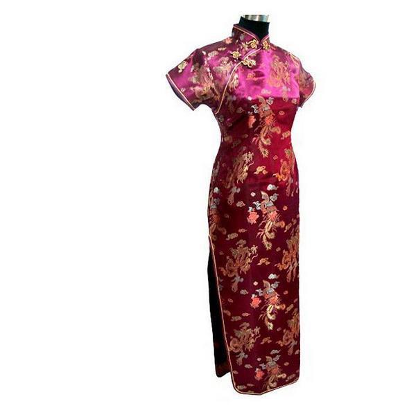 Новинка, длинное атласное женское платье чонсам, элегантное тонкое платье с высоким разрезом, традиционное платье ручной работы с пуговицами и цветами, Qipao, с коротким рукавом, Vestidos - Цвет: Animal 5