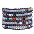 Китай Оптовая Продажа 1 Шт. полудрагоценный Камень Кристаллические Шарики Смешанные Браслет Ручной Работы 5 Wrap Браслеты с Натуральной Кожи цепи