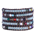 China Wholesale 1Pc Semi-precious Stone Crystal Beads Mixed Charm Bracelet Handmade 5 Wrap Bracelets with Genuine Leather Chain
