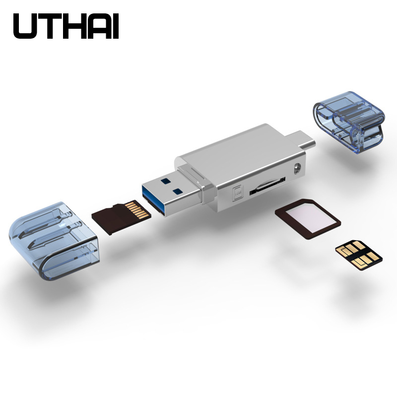 UTHAI C39 For HUAWEI NM Card Reader Type-C to Micro SD/USB Card Reader 2 In 1 USB3.0 For Mobile/PC Use Nano Memory Card Read