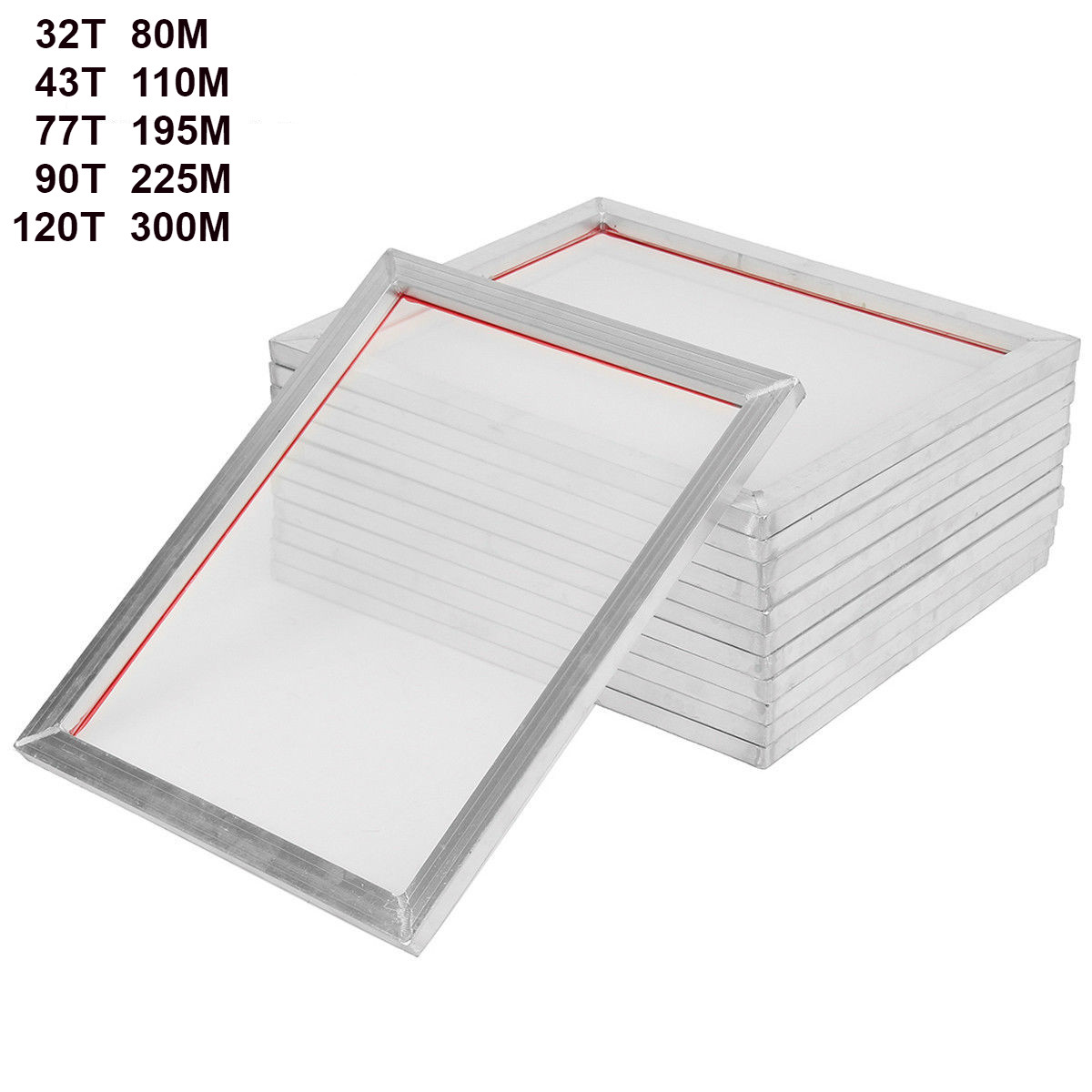 5Pack 46cm*41cm Aluminum Silk Screen Printing Press Frame Screens White 18'' X16'' 32T 43T 77T 90T 120T Mesh Out Size 46cm*41cm