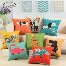 "Smochi Cartoon Cushion Case Home Decor Pillow для дивана Kids Fashion Pillow Cover Seat Chair Cushion Cover Animal Print 18 ""* 18"""