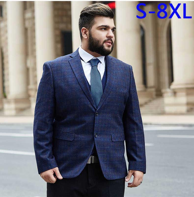 Męskie plaid blazer duże męskie garnitur super duże jednolite siatka sukienka kurtka wysokiej jakości cena hurtowa plus rozmiar 2XL-7XL 8XL 9XL