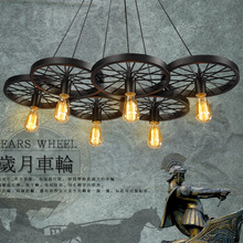 Vintage chandelier restaurant creative personality industrial loft bar American Iron wheel chandelier lamp MJ306 цена