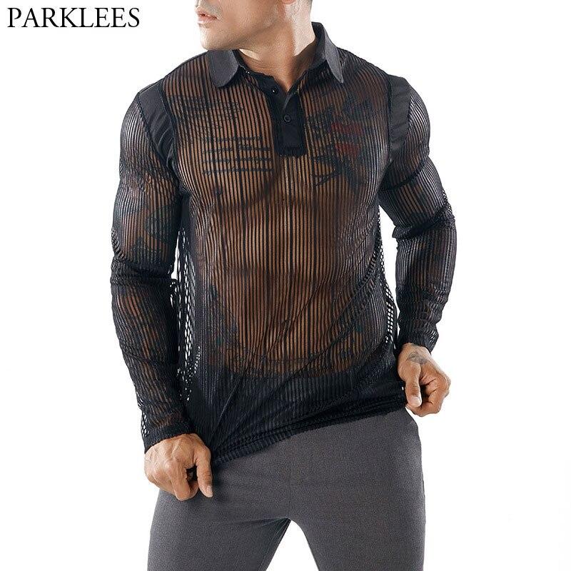 Men's Sexy See-through Transparent   T     Shirt   2018 Fashion New Long Sleeve Nightclub Wear Tshirt Men Party Prom Streetwear Tops Tee