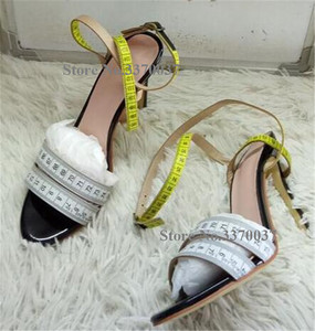 Image 3 - Summer Unique Design Ruler Cross High Heel Sandals Charming Ankle Straps Rulers High Heel Sandals Sexy Formal Dress Shoes