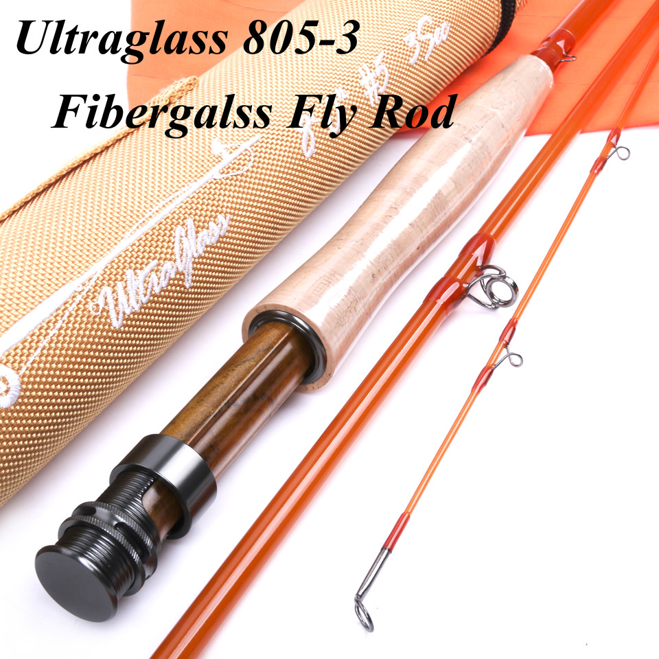 Maximumcatch High Quality 8ft 5wt 3sections Fly Rod Transparent Fiberglass Fishing Rod With Cordura Tube