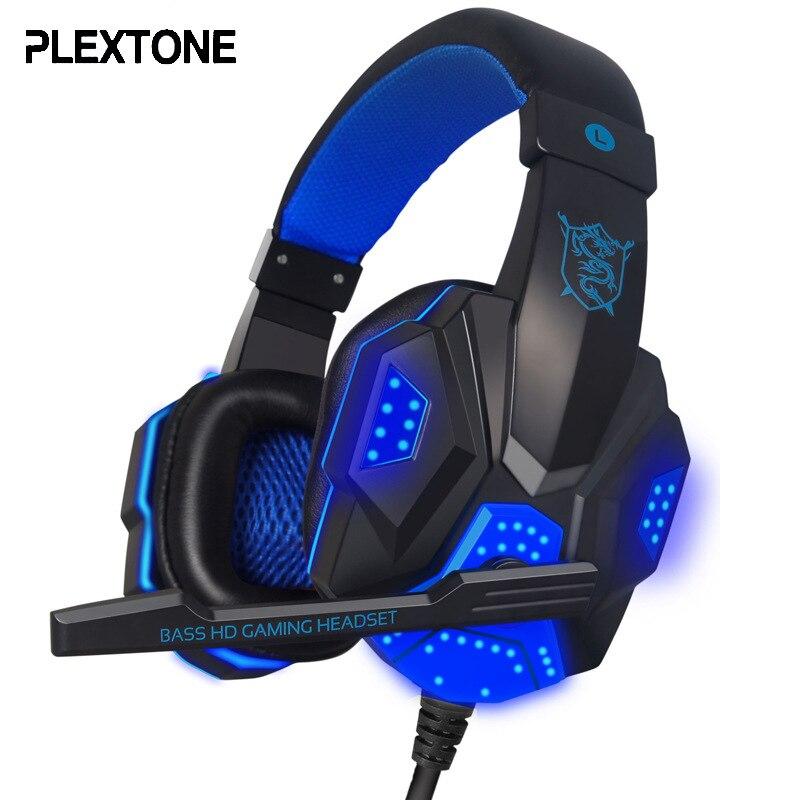 Plextone PC780 Игровые наушники бас стерео компьютер GameHeadset оголовье Over-Ear светодиодный Мигает наушники с микрофоном