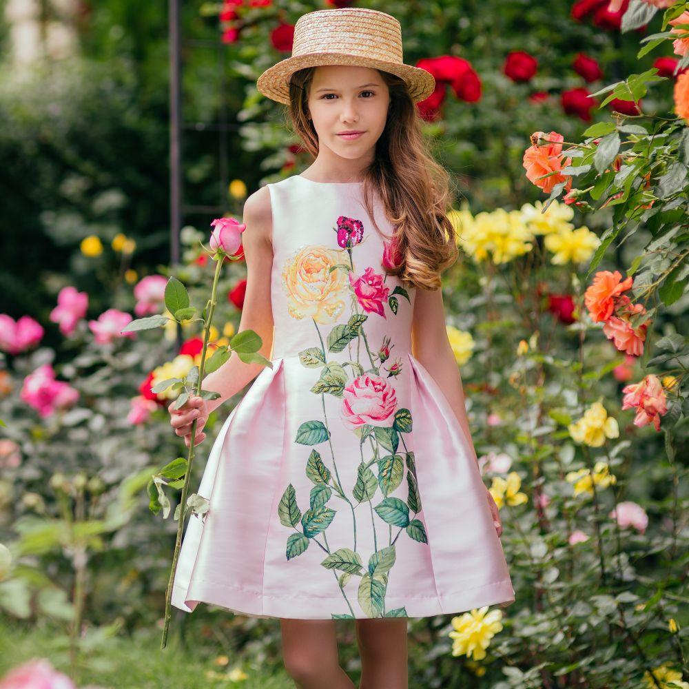 Vestido de princesa estampado de flores ropa de niña con fajas túnica de diseño niña vestido para fiesta y boda niños traje Vestidos de unicornios para niños, vestidos de lentejuelas para vestido de chica a rayas, vestido informal para niñas, ropa de Licorne para niños, vestido de verano para niñas