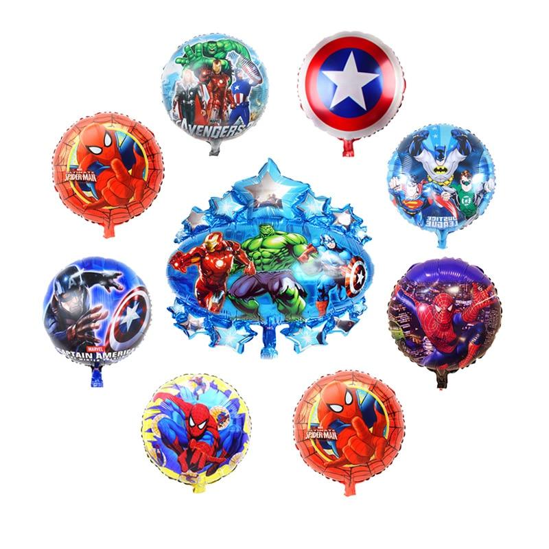 10pcs hero balloons Avengers justice league Spiderman Batman Supreman foil balloon Children birthday party supplies baby toys