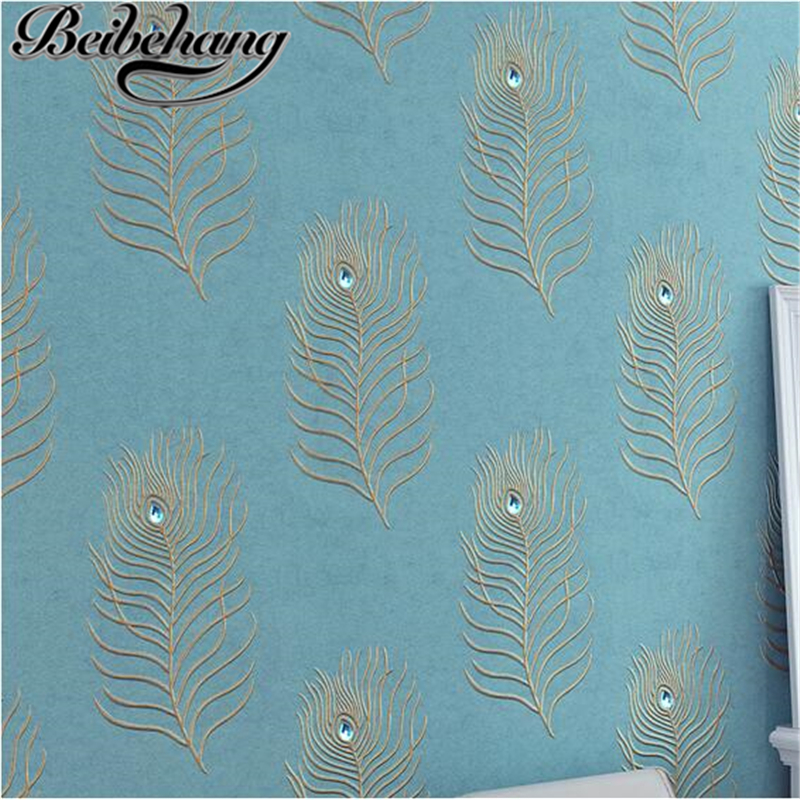 beibehang Southeast Asian luxury non - woven wallpaper embroidery 3D diamond peacock blue - green feather wallpaper background beibehang peacock deep blue feather
